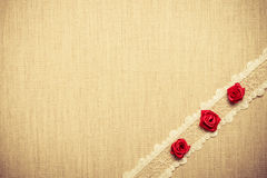 Frame of red silk roses on cloth Royalty Free Stock Photography