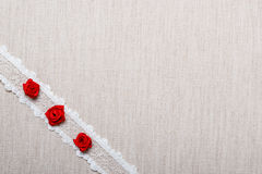 Frame of red silk roses on cloth Royalty Free Stock Image