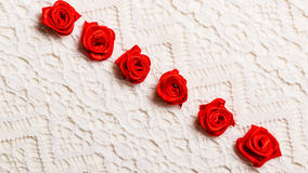 Frame of red silk roses on lace Royalty Free Stock Images