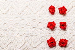 Frame of red silk roses on lace Stock Images