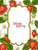 Frame with red strawberries. Decorative berries and leaves.  Royalty Free Stock Images