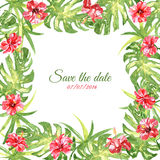 Frame from red watercolor Hibiscus flowers Stock Images