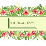 Frame from red watercolor Hibiscus flowers Stock Photography