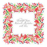 Frame with red watercolor lilies. Royalty Free Stock Photos