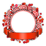 Frame with red and white  candies. Sweet frame of red and white candies with red ribbon. Vector illustration Stock Photo