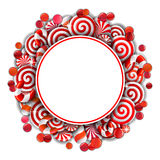 Frame with red and white  candies Stock Photos