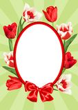 Frame with red and white tulips. Beautiful realistic flowers and buds.  Stock Photo