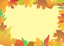 Frame with red and yellow leaves - vector Royalty Free Stock Photo