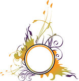 Frame redondo floral de Grunge Imagens de Stock Royalty Free