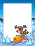 Frame with reindeer riding scooter Stock Photo