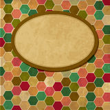 Frame in retro background with honeycombs. Vector illustration Royalty Free Illustration