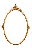Frame retro dourado do espelho, isolado no branco Fotos de Stock