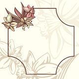 Frame retro romântico com flores Fotos de Stock