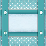 Frame with ribbons and buttons, fabric background. Stock Images