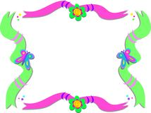 Frame of Ribbons, Flowers, and Butterflies Stock Images