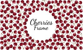 Frame of ripe red cherries with sprigs with round space for text royalty free illustration
