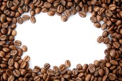 A frame from roasted coffee beans with empty copy space. stock photos