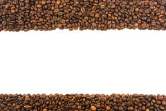 Frame of roasted coffee beans with a white background. Frame of roasted coffee beans with white background for design Stock Image