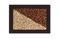 Frame with roasted and unroasted coffee Stock Photo