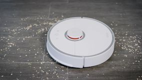 In the frame robot vacuum cleaner and women`s hands. The woman turns on the device in order to remove the spilled croup. stock video