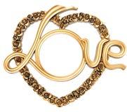 Frame romântico velho do ouro da foto imagens de stock royalty free