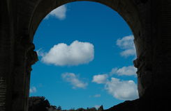 Frame of roman arch. With cloud and blue sky Royalty Free Stock Photography