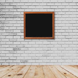 Frame room interior and white brick wall with wood floor Stock Photos