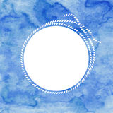 Frame with rope on blue watercolor background. Hand drawn  Royalty Free Stock Image