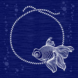 Frame with rope and fish on blue background. Hand drawn  i. Marine background with fish. Vector illustration, frame with place for text Royalty Free Stock Photos