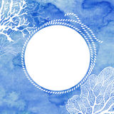 Frame with rope and marine plants on blue watercolor background. Royalty Free Stock Photos