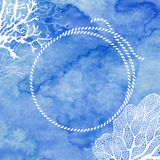 Frame with rope and marine plants on blue watercolor background. Royalty Free Stock Images