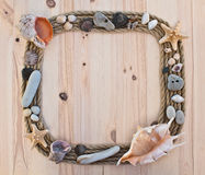 Frame of rope and seashells Stock Photo