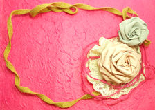 Frame Of Rose Fabric Handmade Decoration. Beautiful Frame Of Rose Fabric Handmade Decoration Stock Photo