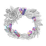 Frame rose flower and crystals vector stock illustration
