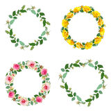 Frame with rose. Set of round floral borders. Stock Image