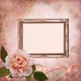 Frame with a rose on a vintage background Stock Image