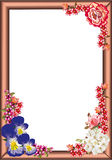 Frame with rose and violets Stock Photography