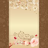 Frame with roses and blossoming branches Royalty Free Stock Photography