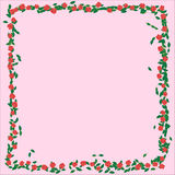 Frame with roses. Branches, leaves and petals isolated on rose background. flat lay, overhead view Royalty Free Stock Photo