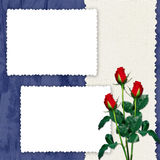 Frame with roses on the dark blue background. White frame with roses on the dark blue background Stock Photography