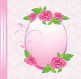 Frame with roses on the decorative background. Festive card. Illustration Stock Image