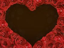 A frame of roses in the form of a heart. Royalty Free Stock Image