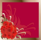 Frame with roses illustration. Royalty Free Stock Images