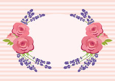 Frame of roses and lavender vector royalty free illustration