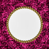 Frame with roses and pearls Stock Photo