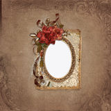 Frame with roses, retro decorations on vintage background Stock Photography