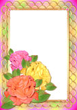 Frame with roses in style of scrapbooking. Awesome greeting card in style of scrapbooking with roses on frame in soft lilac tones. Vector illustration Stock Image