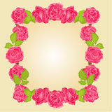 Frame with roses vector. Frame with roses greeting card festive background place for text vector Royalty Free Stock Images