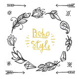 Frame round chalked in boho style. Royalty Free Stock Photography