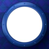 Frame round porthole on blue background Royalty Free Stock Photos